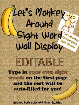 EDITABLE Let's Monkey Around Sight Word Wall Display or Ma