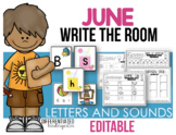EDITABLE Letters and Sound Write the Room - June