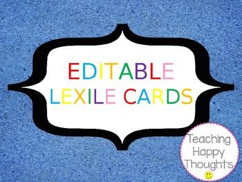 EDITABLE Lexile Cards