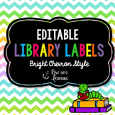 Chevron Brights - EDITABLE Library Labels