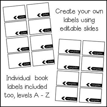 Classroom Library Labels | Library Labels | Editable | Black and White