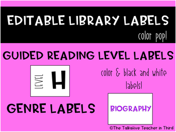 EDITABLE Library Labels - Bright Colors