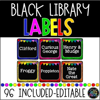 EDITABLE Black Library Labels {for Target Dollar Spot Pockets)