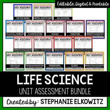 Editable and Differentiated Life Science Unit Assessments