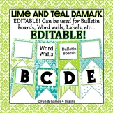 EDITABLE Lime and Teal Damask themed bulletin board banner