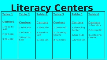 EDITABLE Literacy and Math Centers Schedule