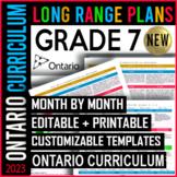 EDITABLE Long Range Plans Ontario | Grade 7 | New Math 2020 Curriculum SALE!