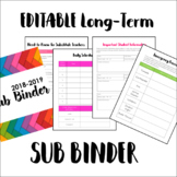 EDITABLE Long-Term Sub Binder for Middle and High School Teachers
