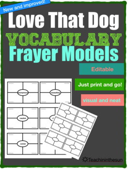 EDITABLE Love That Dog Fryer Model Vocabulary Pages