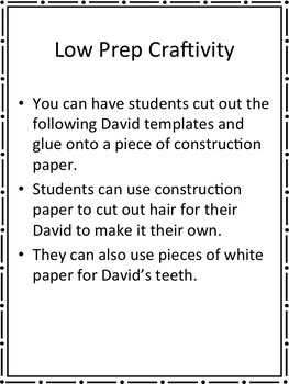 EDITABLE Low Prep David Goes to School Activities
