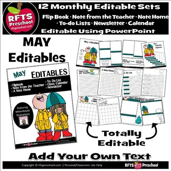 EDITABLE MAY -FLIP BOOKS - MONTHLY NEWSLETTERS - CALENDARS - TO-DO-LISTS