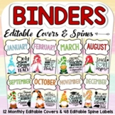 EDITABLE MONTHLY BINDER COVERS & SPINE LABELS: GNOMES