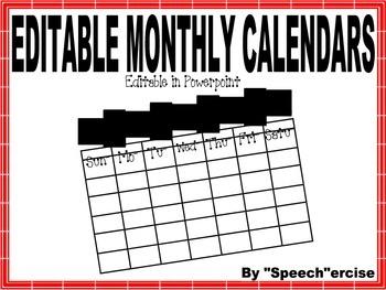 EDITABLE MONTHLY CALENDAR TEMPLATES (Powerpoint)