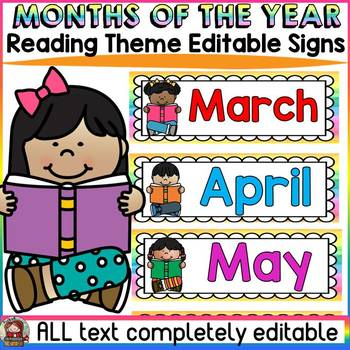 EDITABLE MONTHS OF THE YEAR: CLASS DECOR: READING THEME