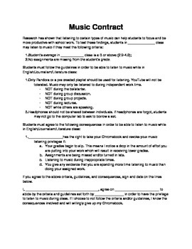 EDITABLE MUSIC CONTRACT FOR MULTIPLE GRADES/SUBJECT AREAS
