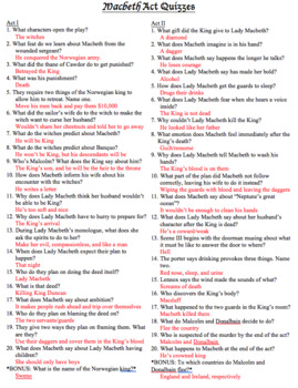 EDITABLE Macbeth Act Quizzes with Answers