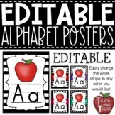 EDITABLE Manuscript Alphabet Posters {Black and White Designs}