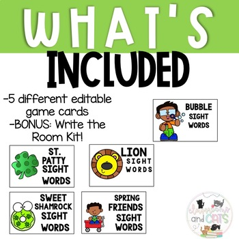 EDITABLE March sight word cards for games and Write the Room Kit!