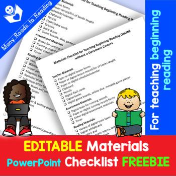 EDITABLE Materials Checklist FREEBIE for Teaching Beginning Readers