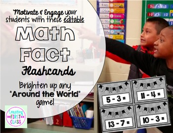 EDITABLE Math Facts Around the World Playing Cards