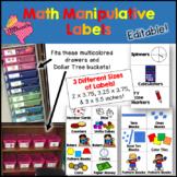 Math Manipulatives Labels EDITABLE