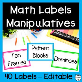 EDITABLE Math Manipulative Labels ~ Bright Colors & Black & White ~ K-5th