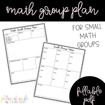 EDITABLE Math Small Group Planner