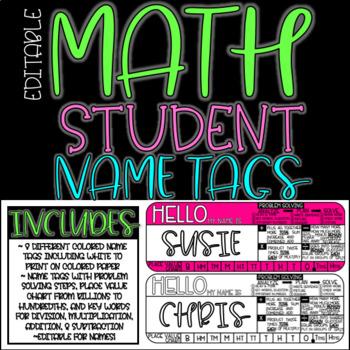 EDITABLE Math Student Name Tags