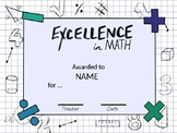EDITABLE Math Themed Certificates
