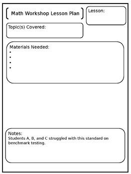 EDITABLE Math Workshop Lesson Plans