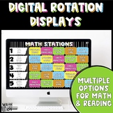 EDITABLE Math and Reading DIGITAL Rotation Displays