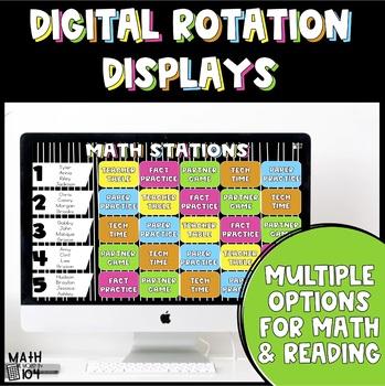 EDITABLE Math and Reading DIGITAL Rotation Displays
