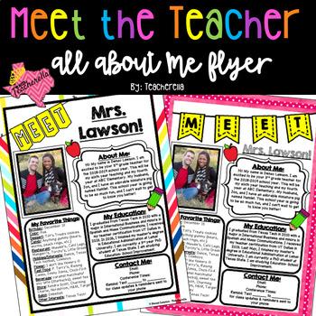 EDITABLE Meet The Teacher-Open House All About Me: Teacher