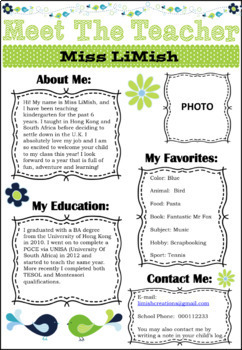 EDITABLE Meet The Teacher Template (Green/Blue) Black & White version included!