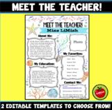 EDITABLE Meet The Teacher Template (Ocean theme!)