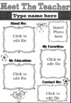 EDITABLE Meet The Teacher Template (Pink/Blue) Black & White version included!