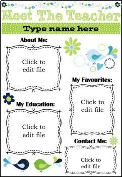 EDITABLE Meet The Teacher Template U.K.Version(Green/Blue)Black & White included