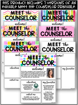 EDITABLE Meet the Counselor Watercolor Template