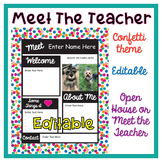 EDITABLE Meet the Teacher | All About Me | Confetti Theme