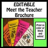 EDITABLE Meet the Teacher Brochure
