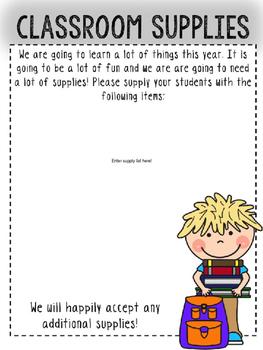 EDITABLE Meet the Teacher First Grade Open House Information Packet!