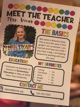 EDITABLE Meet the Teacher Handout BRIGHT