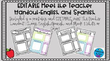 EDITABLE Meet the Teacher Handouts English and Spanish