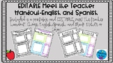 EDITABLE Meet the Teacher Handouts English and Spanish
