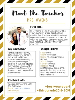 EDITABLE Meet the Teacher Letter! 3 Color Versions