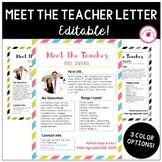 EDITABLE Meet the Teacher Letter! 3 Color Versions