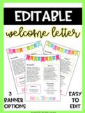 EDITABLE Meet the Teacher Letter - Welcome Letter - Parent Survey - Bright