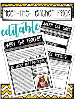 EDITABLE Meet-the-Teacher Packet *Freebie*