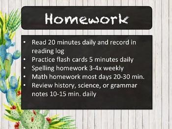 Meet the Teacher | First Day of School Presentation- Cactus Chalkboard EDITABLE
