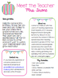 EDITABLE Meet the Teacher Welcome Letter & Parent Survey